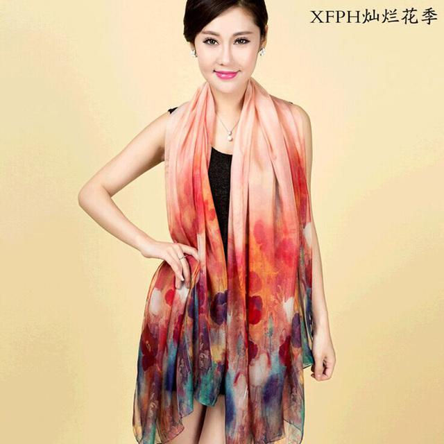 100% de seda 180 cm * 110 cm de longitud de Las Mujeres elegantes bufandas del mantón de la bufanda de seda Pura de inyección de tinta