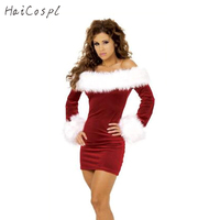 New Arrival Sexy Christmas Costumes For Women Red Long Sleeve Strapless Party Dress Christmas Cosplay Clothes