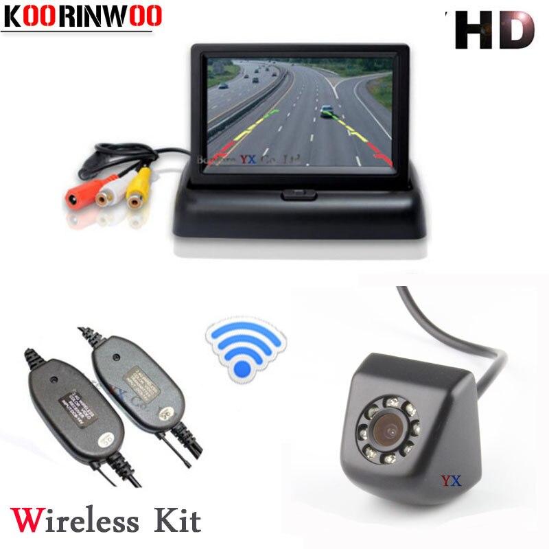 Koorinwoo Parking Assist 2.4G Wireless Kit 4.3 Monitor Video Input 12V Screen HD Car Rear view Camera BackUp 8 Lights Reverse