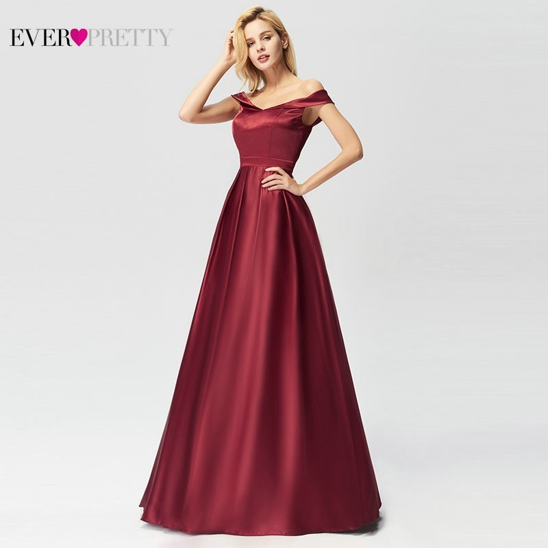 Burgundy Mother Of The Bride Dresses A Line V Neck Off The Shoulder Satin Farsali Mother Dresses Robe Mere De La Mariee 2019 in Mother of the Bride Dresses from Weddings Events