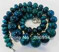 free shipping new arrive Charming!! 10-20mm Azurite Phoenix Stone Roundel Beads Necklace fashion jewelry