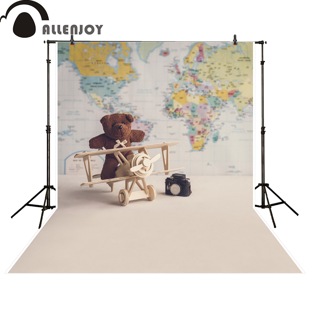Allenjoy photography backdrop bear plane world map baby shower newborn photo studio photocall background custom 300cm 200cm about 10ft 6 5ft fundo butterflies fluttering woods3d baby photography backdrop background lk 2024