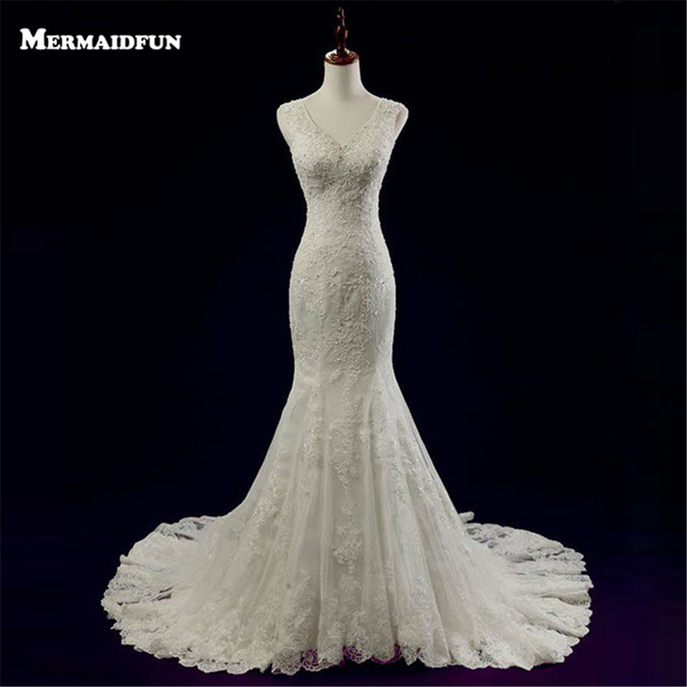Buy 2017 vestido de noiva new elegant for Lace button back wedding dress