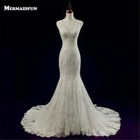 Vestido De Noiva New Elegant Mermaid Sweetheart Lace Wedding Dress With Train Sheer Back Button Wedding