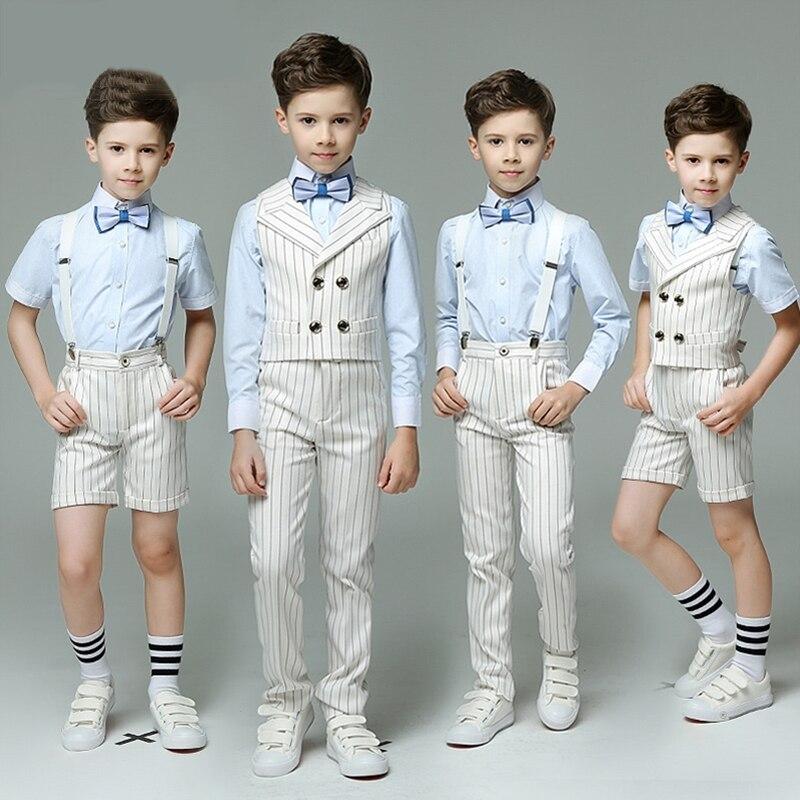 2019 été garçons costumes formel Double boutonnage rayé enfants gilet costume ensemble costume de mariage mode blazer costume école uniforme