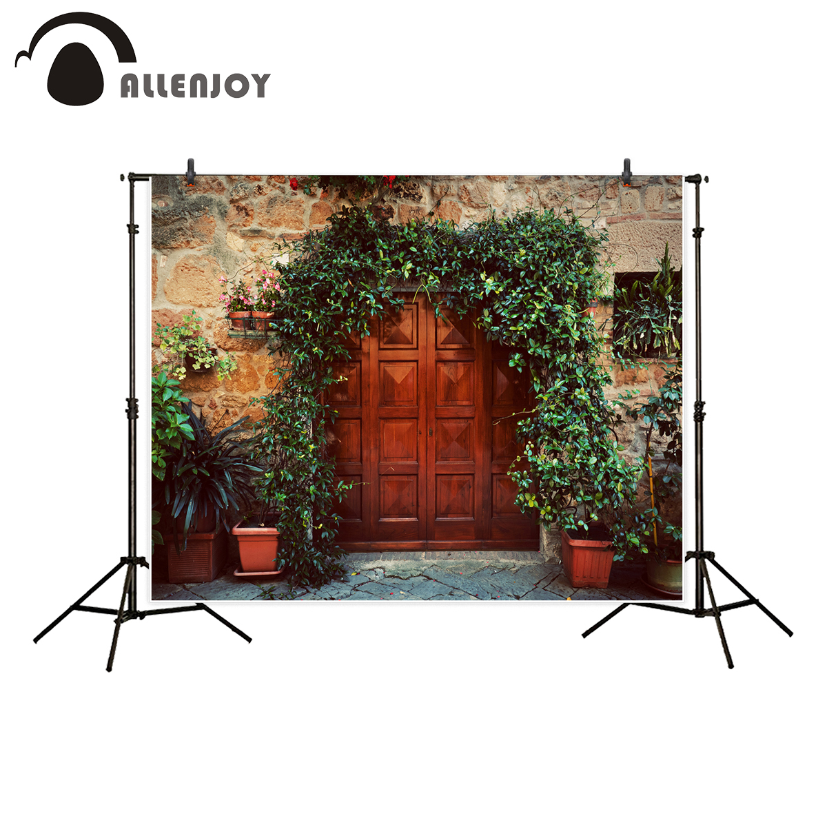 Allenjoy photography backdrop vintage wood door retro brick wall background photocall photo studio printed photobooth allenjoy photography backdrop brick wall wooden floor white baby shower children background photo studio photocall