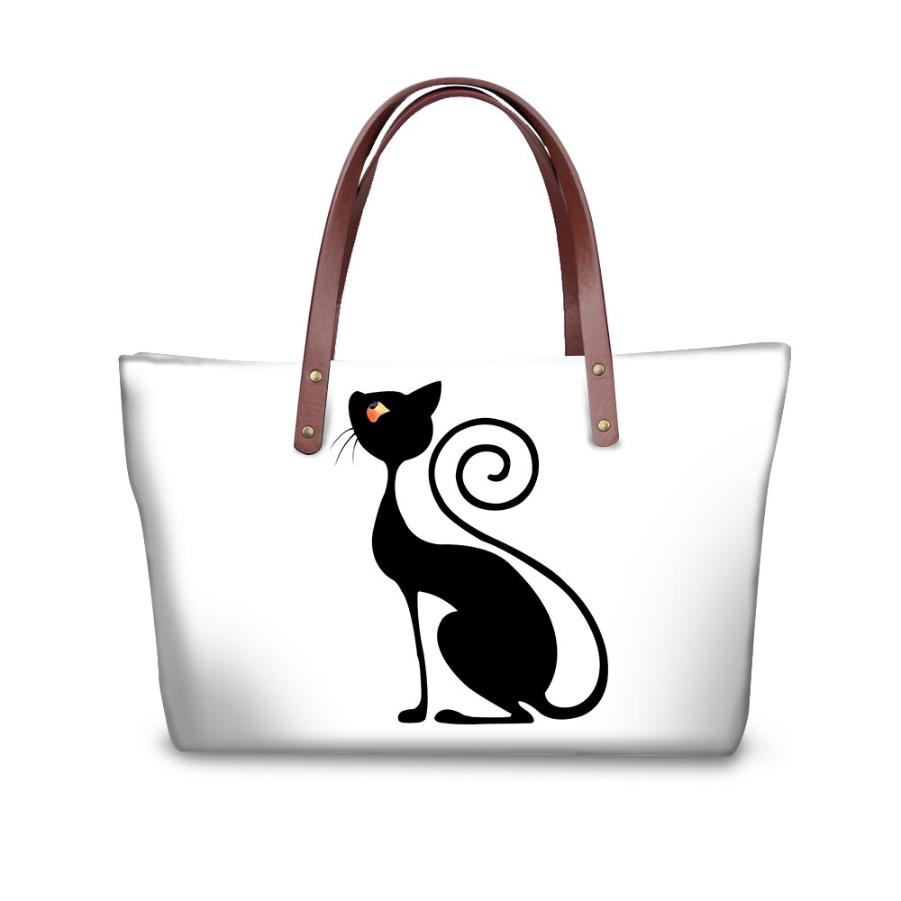 Noisydesigns cats black funny Pattern Shoulder Bag Big gorjuss bag Women Hand Bag Beach Totes Travel Tote Sac a main Wholesale