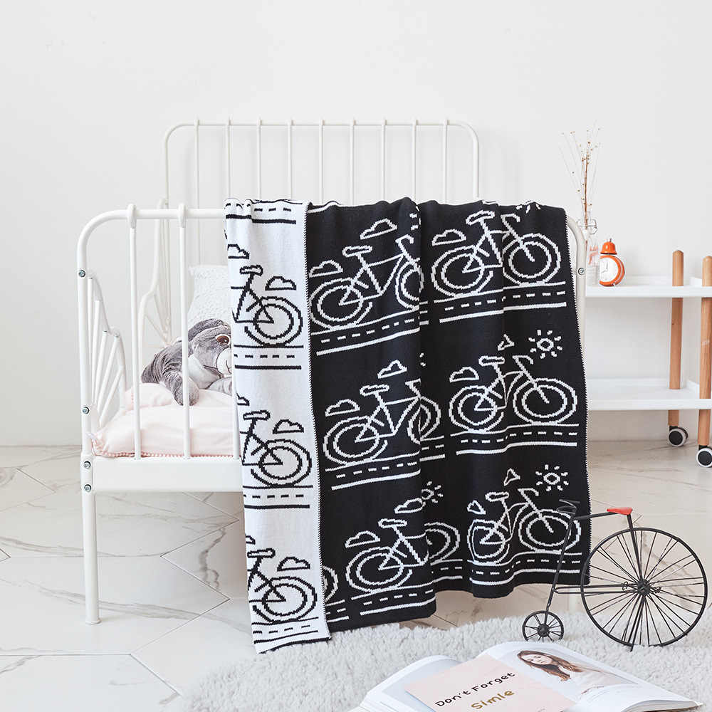 Black Pink Bicycle Pattern Crochet Cartoon Soft Knitted Blanket Throw for Girls Children on Bed Sofa Couch Kids Christmas Gift