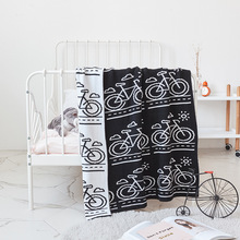Black Pink Bicycle Pattern Crochet Cartoon Soft Knitted Blanket Throw for Girls Children on Bed Sofa Couch Kids Christmas Gift black pink bicycle pattern crochet cartoon soft knitted blanket throw for girls children on bed sofa couch kids christmas gift