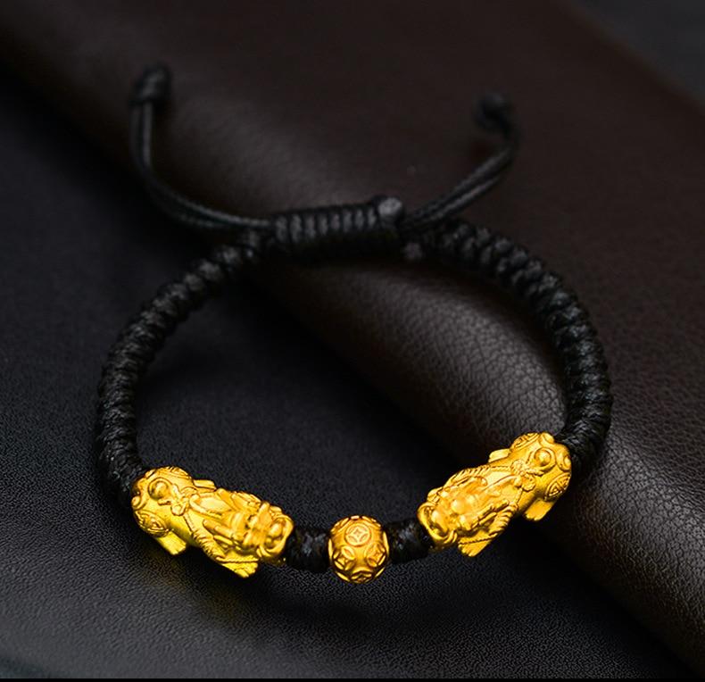 Image 4 - Handmade Good Luck Man Bracelet Fengshui Pixiu Bracelet 3D 999 Silver Wealth Pixiu Beaded Bracelet Man Gift-in Strand Bracelets from Jewelry & Accessories