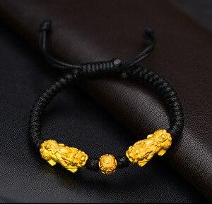 Image 4 - Hecho a mano buena suerte pulsera de hombre Fengshui pulsera Pixiu 3D de plata 999 riqueza Pixiu con cuentas pulsera regalo hombre