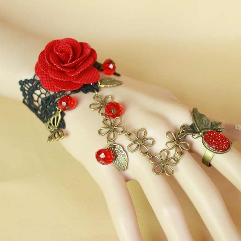 1 pcs Hot sale Steampunk Vampire Black Lace Rose Bracelets Vintage Gothic Butterfly Bracelet For woman