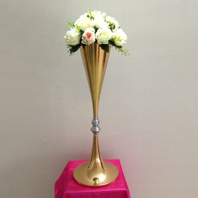 Gold Vase Metal Flower Road Lead Wedding Table Centerpiece Flowers