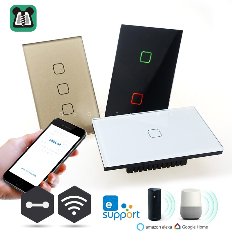 US Wifi App Remote Control Type Wall Light Controller Smart Home Automation Touch Switch Waterproof Fireproof 1G 2G 3G