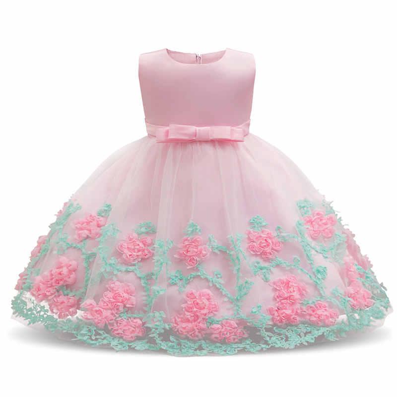 2e5580f08 Flor niña bebé vestido de boda niño Infante Primer 1 año cumpleaños trajes  blanco rosa tutú