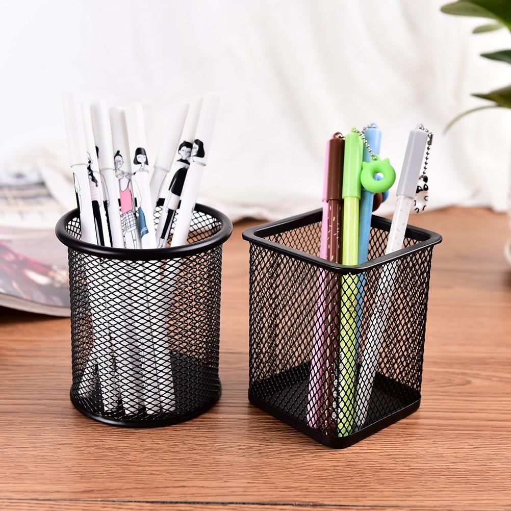 Black Metal Stand Pen Pencil Holder Mesh Style Pen Pencil ...