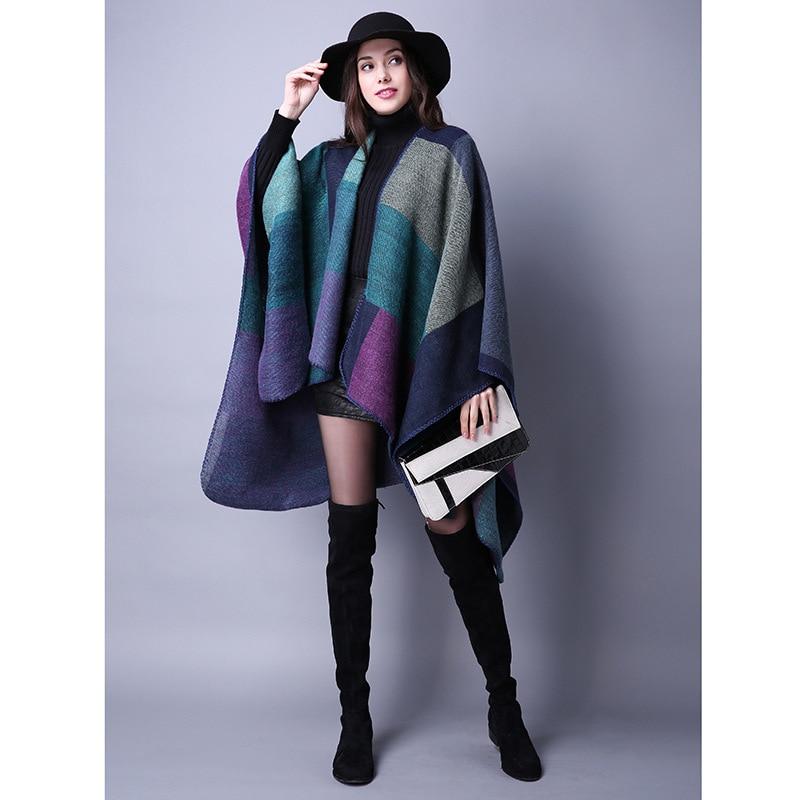 Новинка, модные зимние теплые клетчатые пончо и накидки для женщин, Большие шали и накидки, кашемировые пашмины женские накидки