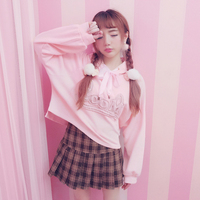 Princess sweet lolita Hoodies Bobon21 sweet cool gril nerver too much and good wear embroidered lace cat Hoodie Plush T1532