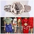 Firma del diseñador de Oro Tono de La Moneda SE Cinturón Correa de Las Mujeres de Moda de Cuero Genuino 2 Estilo Envío gratis