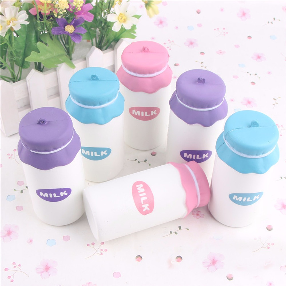 8CM Min Kawaii Cute Soft Squishy Slow Rising Milk Bottle Bread Cream Scented Slow Rising Cellphone Straps Kids Gift Squeeze Toy