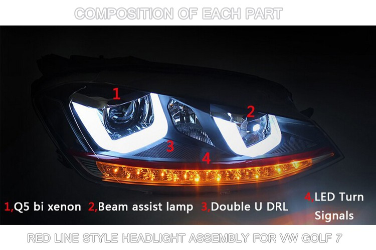 COMPOSITION OF EACH PART FOR VW GOLF 7 HEADLIGHT