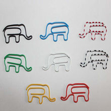 100PCS Creative Cute Cartoon Elephant Shape Paper Clips Funny Bookmark Animal Metal Clips Office supplies Free Shipping(China)