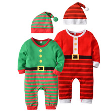Christmas Rompers Newborn Autumn 2018 Cotton Long Sleeve Red Green Strip Santa Claus Romper+Hat 2pcs/Set Baby Clothes