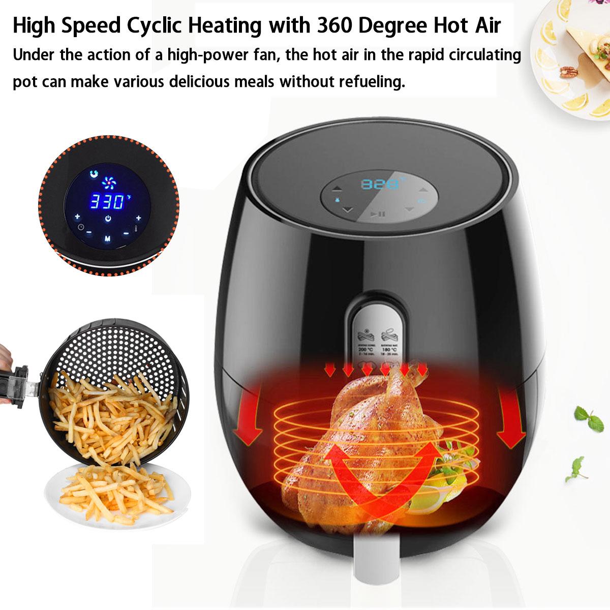 Friteuse à Air friteuse électrique 1400W écran tactile LED numérique minuterie de contrôle de température friteuse à Air électrique - 6