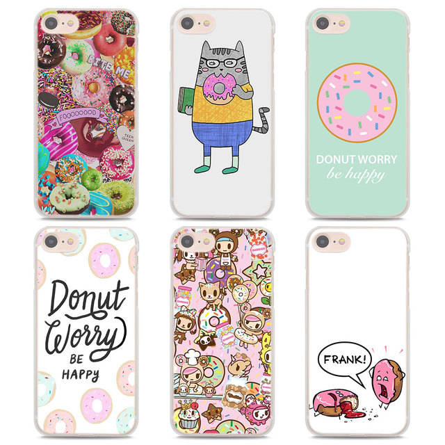 Cute Donut Chocolate Sweet Kawai Design Transparent Clear Case Cover