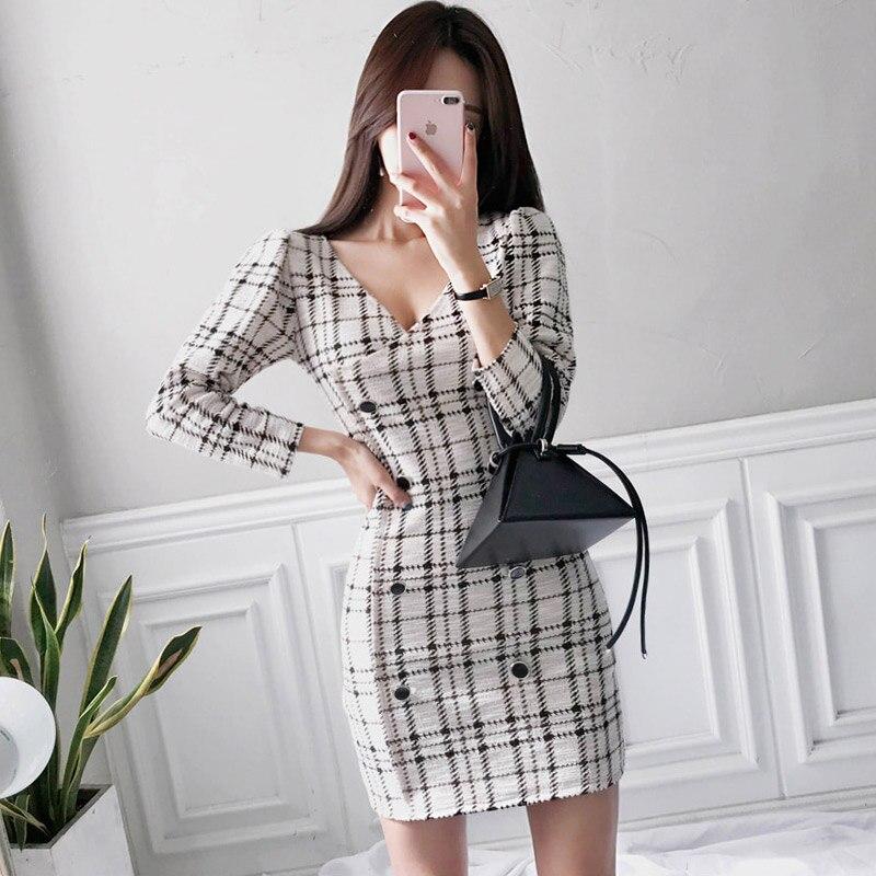 Women's Clothing Autumn Winter Office Ladies V-neck Women Long Blazer Dress Single Breasted Elegant Slim Female Dress Casual Vestidos 2019 Lj79 Elegant In Style