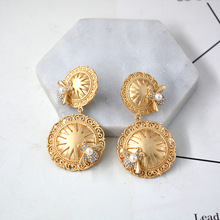 New Baroque retro metal honeybee drill geometric  big round earrings egypt indian jewelry bohemian
