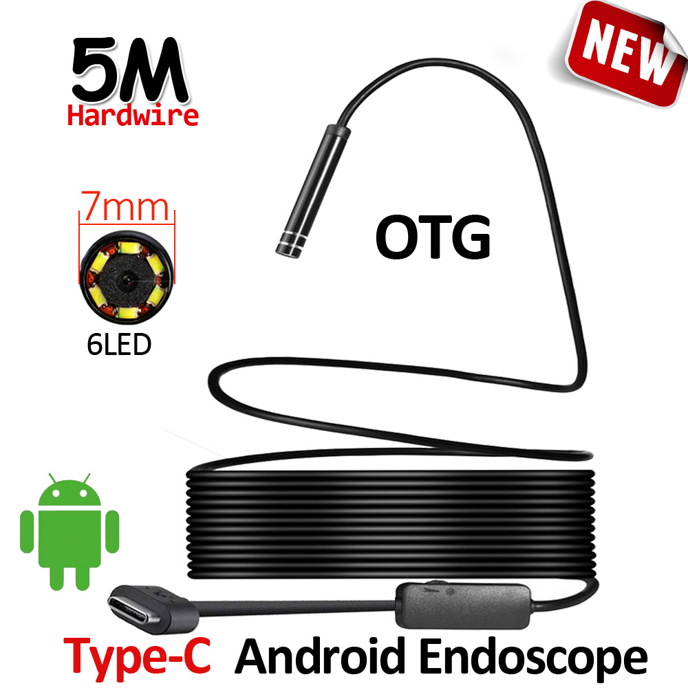 Type C Android USB Endoscope Camera 5M Flexible Hardwire 7mm Len 480P Inspection Snake USB Type C Android Phone Camera Borescope 7mm lens mini usb android endoscope camera waterproof snake tube 2m inspection micro usb borescope android phone endoskop camera