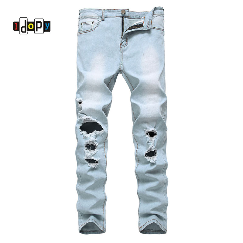Fashion Trend Mens Ripped Jeans Retro Washed Lightblue Denim Pants Hip Hop Stretch Skinny Fit Jean Pants With Holes For Men