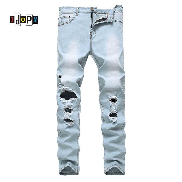 34f12ebc73 Tendencia de la moda para hombre Ripped Jeans Retro lavado azul claro Denim  Pantalones Hip Hop