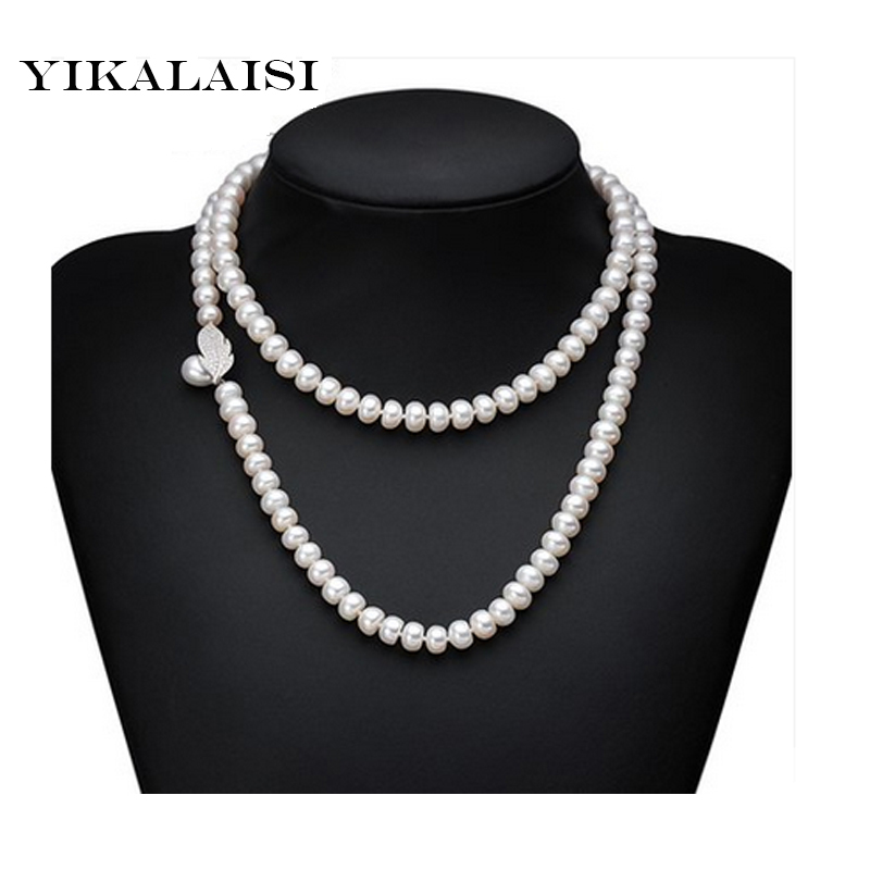 YIKALAISI 2017 New natural freshwater pearl Long necklace jewelry genuine 8-9 MM pearl necklace 925 sterling silver jewelry yikalaisi 2017 real freshwater natural pearl necklace women fine perfect round necklace 925 sterling silver pearl jewelry