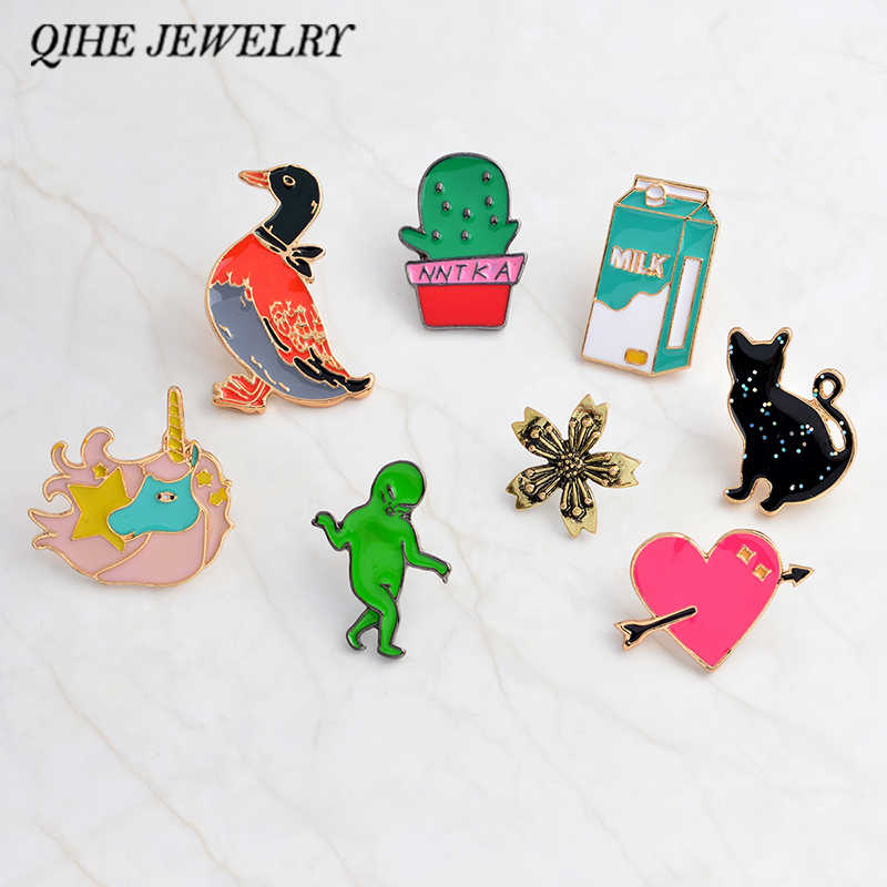 QIHE JEWELRY Pins and brooches Duck,cactus,milk,alien,cat,flower,heart hard enamel pins Badges Backpack bag pins collection