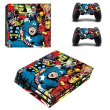 Avengers Iron Man Spiderman Hulk PS4 Pro Skin Sticker For Sony PlayStation 4 Pro Console and Controller PS4 Pro Sticker Decal