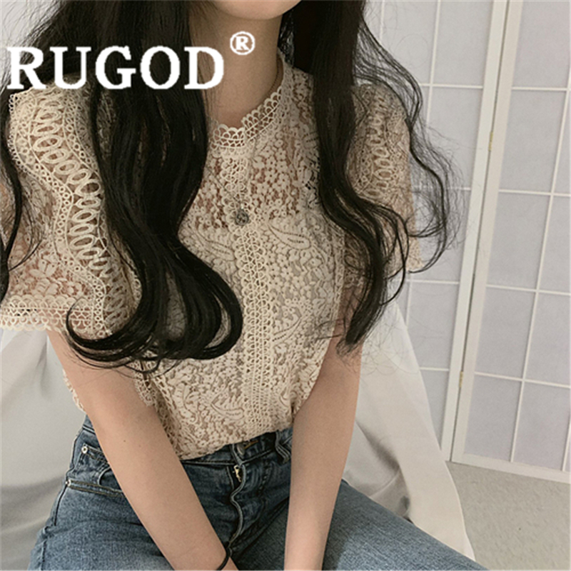 RUGOD Women Solid Vintage Blouse O Neck Lace Embroidery Hollow Out Slim Shirt New Summer Fashion Female Elegant Sweet Korean Top