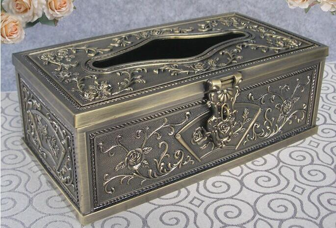 Очень редкая художественная металлическая настольная прямоугольная коробка с одноразовыми салфетками экстракт коробка для салфеток держатель для салфеток бронза 3001 - Цвет: bronze