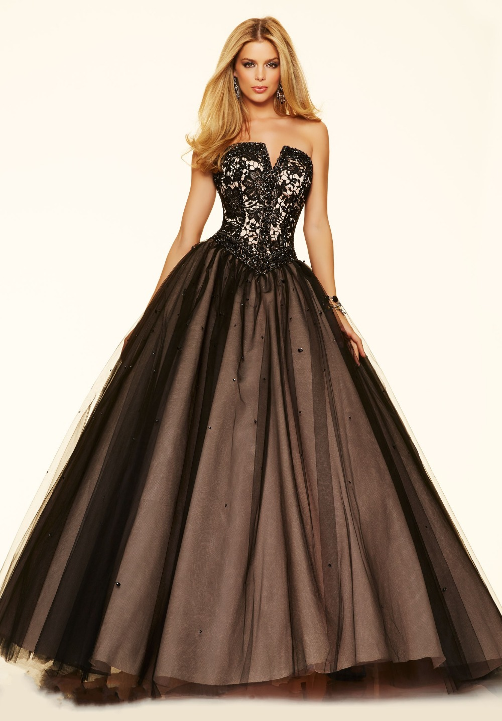 Black Lace Long Sleeves With Slip Side Ball Gown Formal ...  |Formal Ball Dresses With Lace