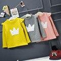 Bebê menina completo manga tops outono inverno grosso gola amarela rosa princesa t-shirt impressão crianças