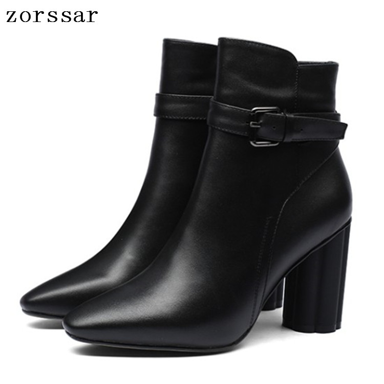 {Zorssar} Pointed toe Women Ankle Boots High Heels Natural leather Women Thick high heel Boots Winter Plush Female Booties 2019 faux soft leather mesh fabric women boots see through high heels stilettos ankle high fall style women booties heel ankle boots