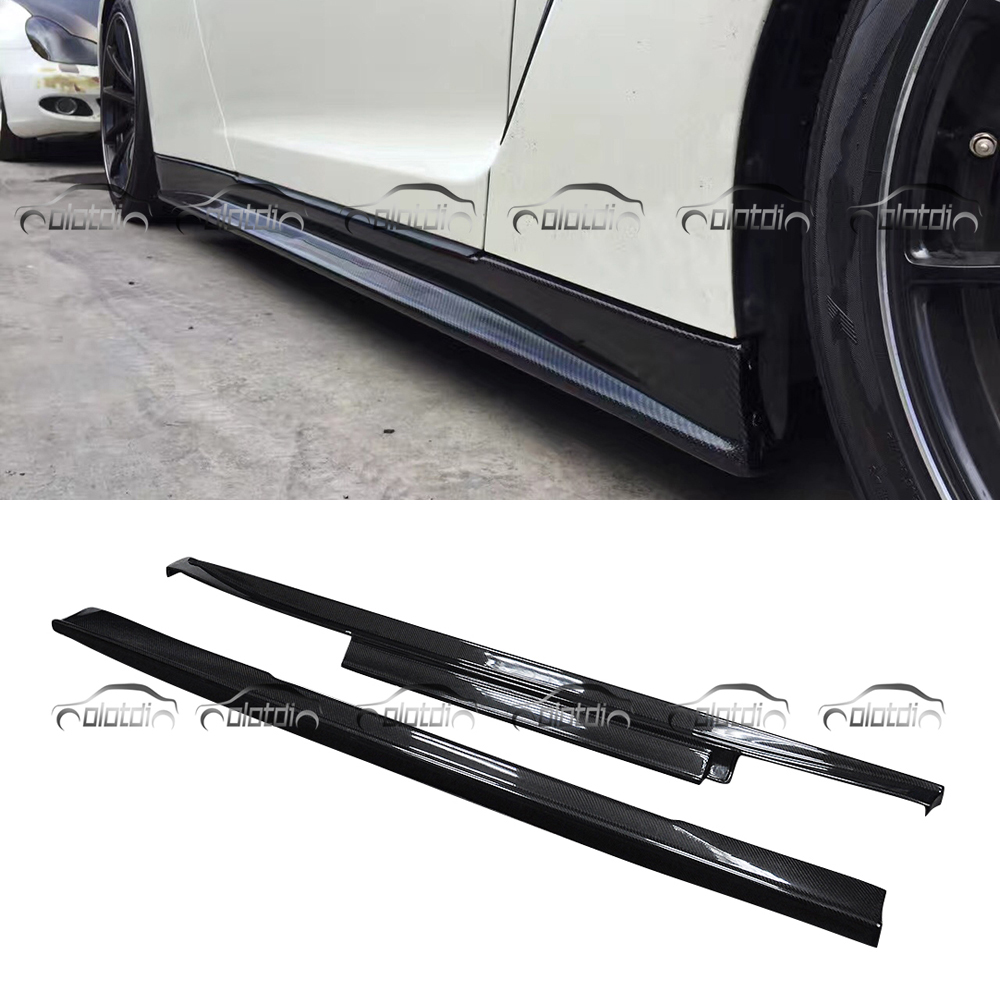 N Style Side Skirts Carbon Fiber Body Kits Spoiler Extension Lips For GTR35 OLOTDI Car Styling