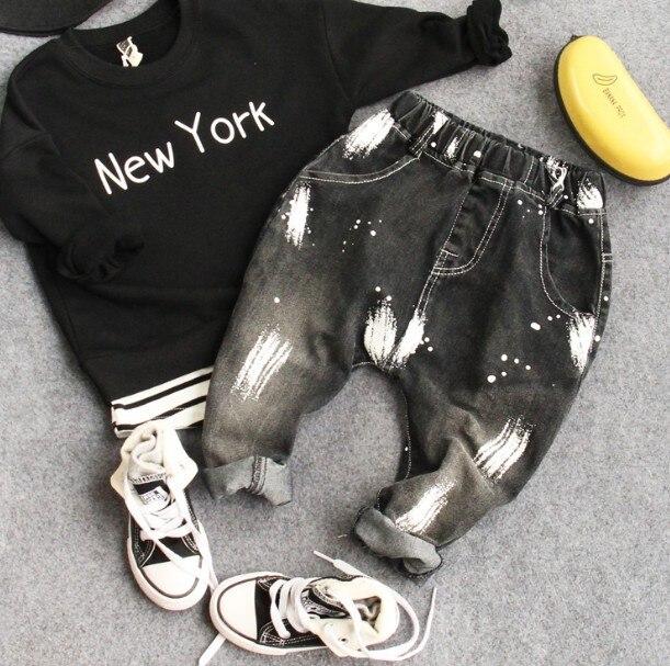 Только джинсы 1 шт. 2-8Y новый 2017 весенние мальчики моды окрашенные джинсы дети весна осень джинсовые брюки дети джинсы мальчиков брюки