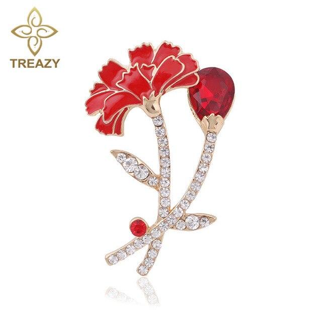 Elegante rojo Clavel Pasadores broche bouquet rhinestone Flor del ...
