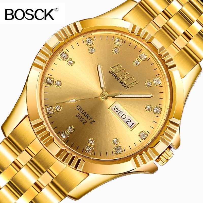 BOSCK Berömd Märke Full Guld Rolig Lycklig Klocka Män Guld Armbandsur Kvarts Kalender Armbandsur för Man Klocka Montre Homme