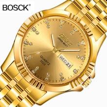 BOSCK Famous Brand Full Gold Role Luxury Watch Men Golden Wrist Watches Quartz Calendar Wristwatch for Man Clock montre homme