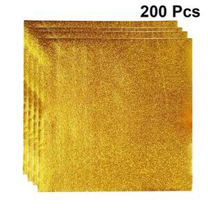 Image 1 - 200 шт. 8*8 см золотая алюминиевая фольга Конфета шоколадное печенье оберточная Оловянная бумага вечерние DIY Металлические тиснения подарочная упаковка крафт бумага