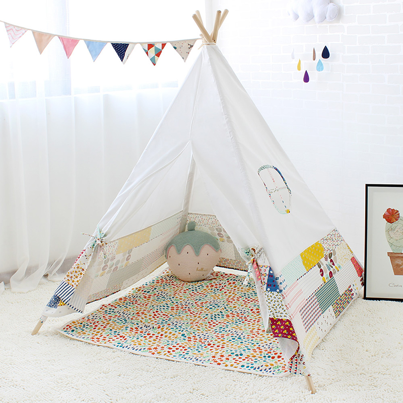 Four Poles Indian Play <font><b>Tent</b></font> Patchwork Children Teepees Kids Tipi <font><b>Tent</b></font> Cotton Canvas Teepee White Play House for Baby Room