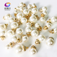 New!!10mm 12mm 14mm Super beauty ABS pear+alloy Set with diamonds Hanging beads DIY jewelry accessories cheap ABZH00 Pearl Plastic